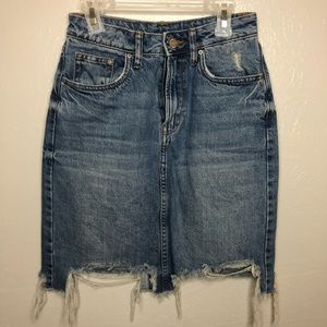 Jean Distressed Skirt